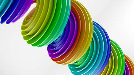 Rainbow spectrum gradient spiral shape. Computer generated abstract geometric 3D render illustration