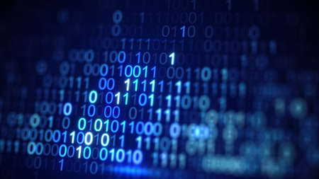 Digital blue binary data code. Abstract information technology concept. Computer generated close-up shot rendered with DOF