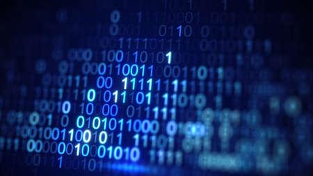 Digitaler blauer Binärdatencode. Abstraktes Informationstechnologiekonzept. Computer generierte Nahaufnahme erschossen mit DOF Standard-Bild - 82262293