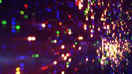 동그라미 픽셀 LED 화면에 다채로운 버스트입니다. 컴퓨터 생성 추상적 인 배경