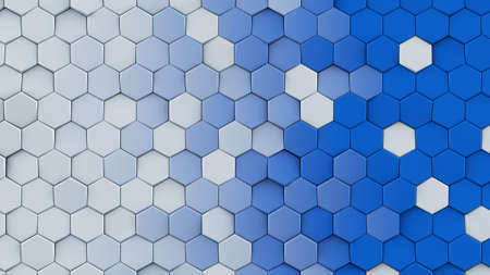 White and blue hexagon pattern. Modern abstract background. Geometric 3D rendering