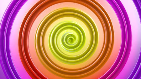 Multicolor spiral shape. Computer generated geometric background. Abstract 3D render