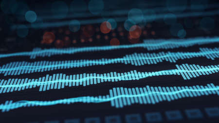 Digital audio waves on screen. Computer designed abstract technology rendering with DOF