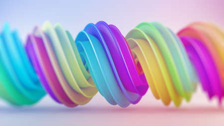 Bright colorful gradient spiral shape. Computer generated abstract geometric 3D rendering