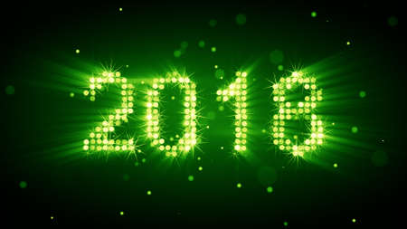 New year 2018 greeting glowing of green particles. Copmputer designed Stock Photo