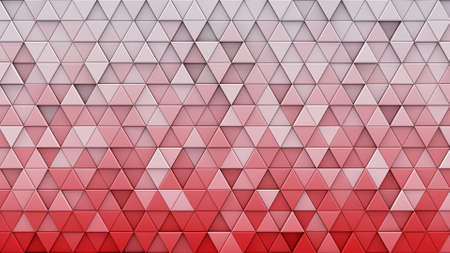 White red gradient triangles extruded. Abstract geometric background. 3D render illustration