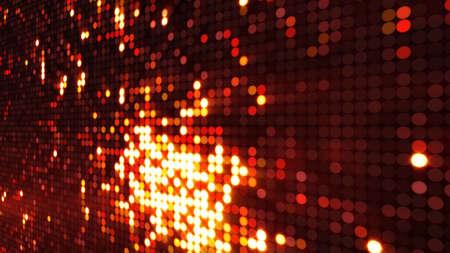 동그라미 픽셀 LED 화면에 불 같은 폭발. 컴퓨터 생성 추상적 인 배경