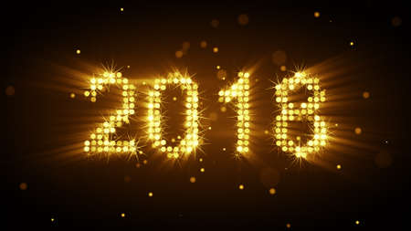 New year 2018 celebration. Glowing yellow particles. Computer generated christmas illustration Stock Photo