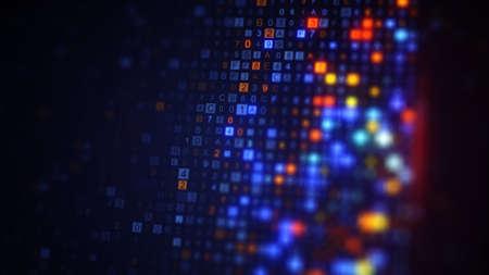 Primer plano de la pantalla mientras se escanea el código digital. Concepto de tecnología de encriptación generada por computadora procesada con DOF Foto de archivo