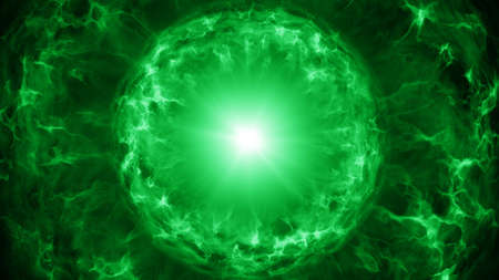 Green plasma sphere with energy charges. Computer generated abstract sci-fi background Stock Photo