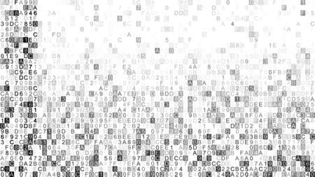 hexadecimal: Digital grey data hex code. Abstract information technology concept. Computer generated raster illustration