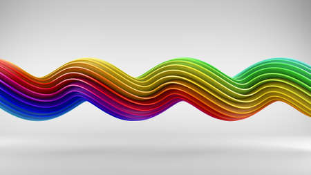 Rainbow colorful gradient twisted spiral shape. Computer designed abstract geometric 3D rendering