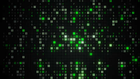 Glowing green digital HEX data code. Computer designed abstract technology concept