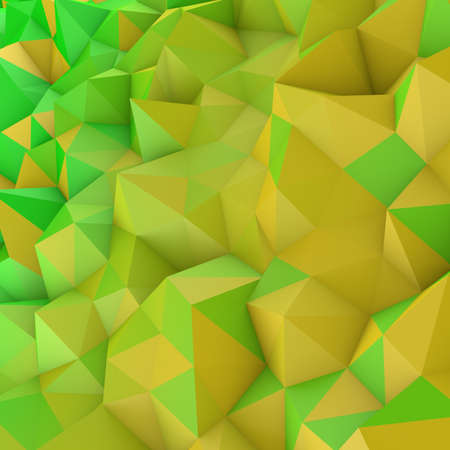Yellow gradient low poly geometric surface. Rainbow color triangular polygons shape. Computer generated abstract 3D rendering  Stock Photo