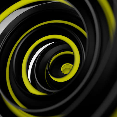 Black and yellow twisted spiral shape. Computer designed abstract 3D render with DOF  Stock Photo