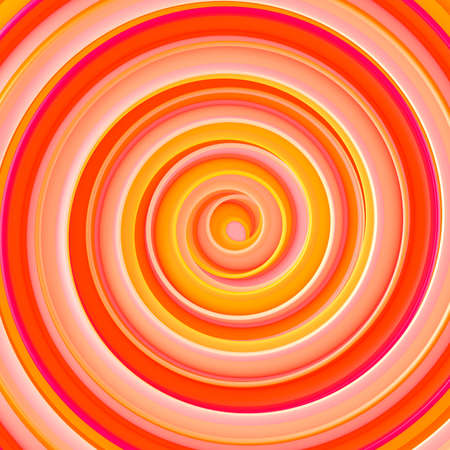 Bright orange twisted spiral hypnotic shape. Computer generated abstract 3D rendering  Stock Photo
