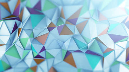 Polygonal coloful surface chaotic displaces. Abstract geometric trendy background. 3D render illustration  Stock Photo