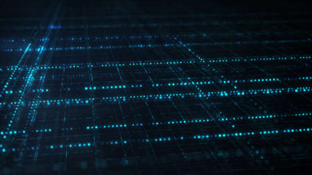 Blue sci-fi grid. Information technology abstract futuristic concept. Computer generated image rendered with DOF