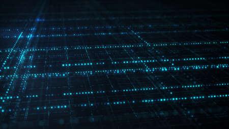 Grelha azul de ficção científica. Conceito futurista abstrato da tecnologia da informação. Imagem gerada por computador rendida com DOF