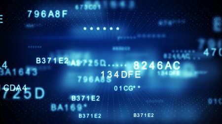블루 디지털 데이터 코드 해독. 디지털 보안 및 정보 기술 개념입니다. 컴퓨터 생성 이미지 DOF로 렌더링
