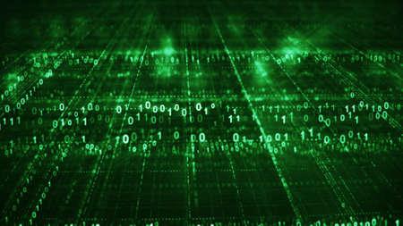 Griglia verde fantascientifica del codice binario digitale. Concetto futuristico di tecnologia dell'informazione. Rendering generato da computer con DOF