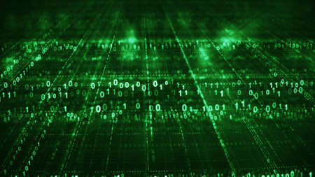 Green sci-fi grid of digital binary code. Information technology futuristic concept. Computer generated rendering with DOF