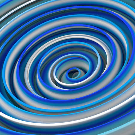 White and blue twisted shape. Computer designed abstract 3D rendering  Stock Photo