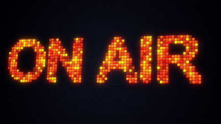 Pixelated on air sign in sound studio. Computer generated image