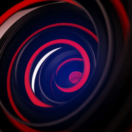 Black and red twisted spiral shape. Computer designed abstract 3D render with DOF
