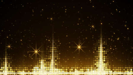 Audio waveform and golden sparkles. Computer generated holiday background