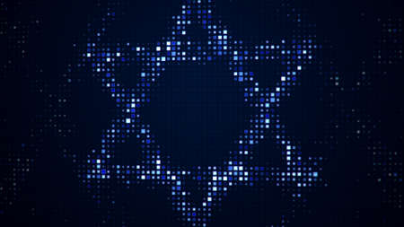 Star of David shape on monitor. Computer generated image
