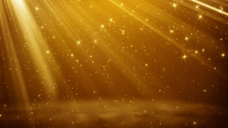 Gold particles and stars flying in light beams. Computer generated abstract background