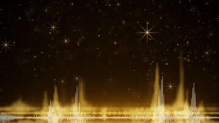 forme d & # 39 ; onde audio jaune et étincelles . illustration générée par ordinateur généré par ordinateur Banque d'images