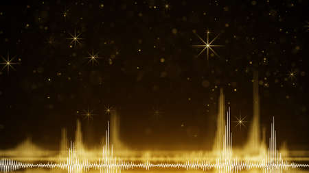 Yellow audio wave form and sparkles. Computer generated festive raster illustration