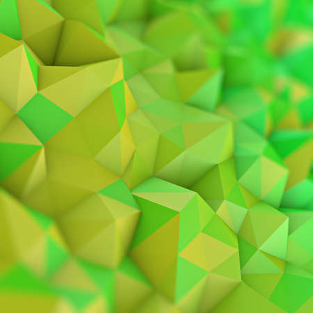 Yellow green gradient low poly geometric surface. Rainbow color triangular polygons shape. Computer generated abstract 3D rendering with DOF  Stock Photo
