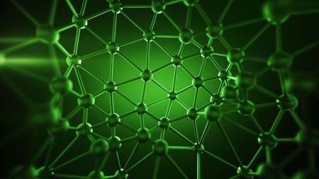 Green plexus structure with lines and spheres. Futuristic network concept. Abstract 3D rendering with DOF
