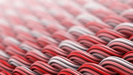 Wavy surface of white and red curles. Computer generated ornament. Abstract 3D rendering with DOF