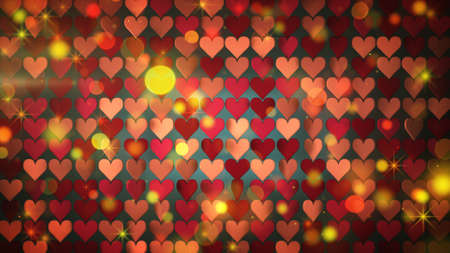 Array of heart shapes and stars. Abstract romantic background. 3D rendering  Stock Photo