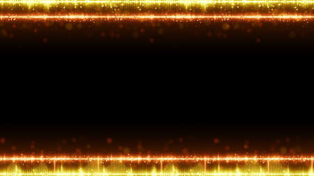 Frame of orange digital audio equalizer and free space. Abstract technology background. Computer graphics