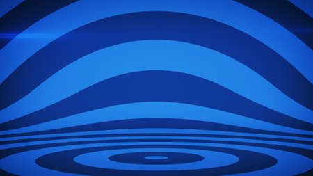 Abstract striped background with blue concentric circles. 3D render illustration