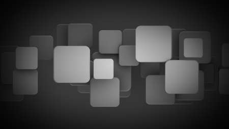 Overlapping black squares. Abstract geometric background. 3D render illustartion