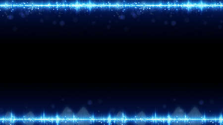 Frame of blue digital audio equalizer and free space. Abstract technology background. Computer graphics