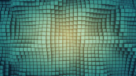 Wavy surface of cubes. Abstract geometric background. Computer graphic image. 3D rendering 스톡 콘텐츠