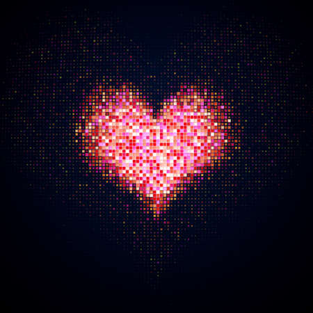 Heart shape of pink LED dots on digital monitor. Computer generated image