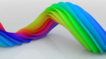 Bright colorful curved twisted shape. Computer generated image. Abstract geometric 3D rendering