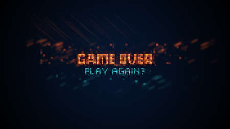 Game over phrase in pixel art 8 bit retro style with glitch effect. Computer generated graphics