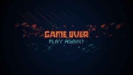 Spiel über Phrase im Pixel-Art-8-Bit-Retro-Stil mit Glitch-Effekt. Computergenerierte Grafiken Standard-Bild