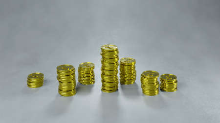 Stack of gold coins. Financial success concept. 3D render Stock Photo