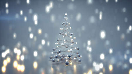 Futuristic christmas tree and bokeh lights. 3D rendering