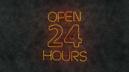 Open 24 hours neon light text on grunge wall. 3D render illustration